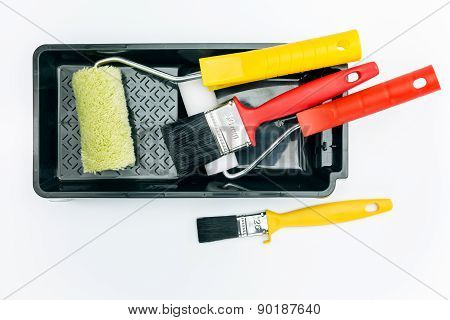 Paint Rollers And Brushes With Tray
