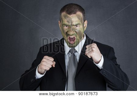 Angry Businessman Ready To Fight