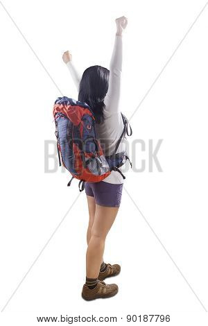 Carefree Backpacker In Studio