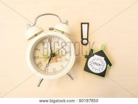 White Clock With Alert And Urgent Sign