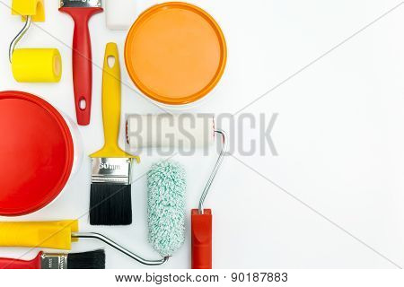 Paint Tools On White Background