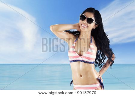 Cheerful Woman With Swimsuit At Coast