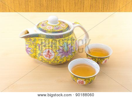 Chinese Tea Pot Set With Two Small Tea Cup