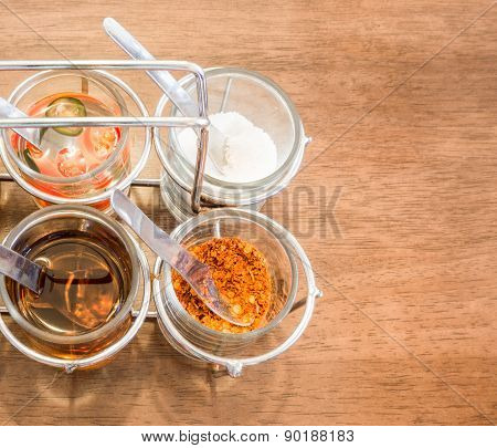 Thai Condiment For Noodle With Four Glasses Of Ingredient
