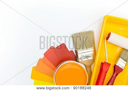 Color Palette With Paint Tools And Accessories