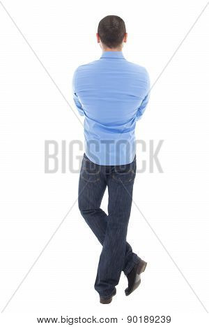 Back View Of Business Man In Blue Shirt Isolated On White