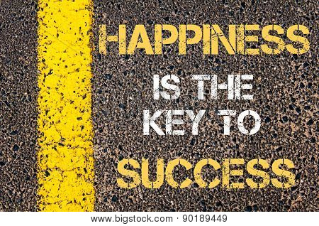 Happiness Is The Key To Success Motivational Quote.