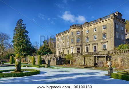 Rydal Hall and gardens on a frosty morning.