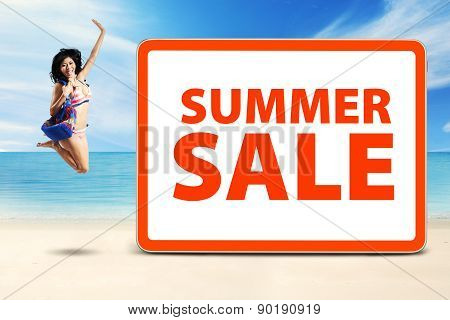 Happy Model Celebrate Summer Sale Time