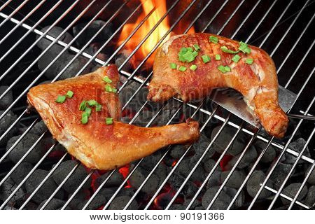 Barbecue Roast Chicken Quarters On The Hot Charcoal Grill