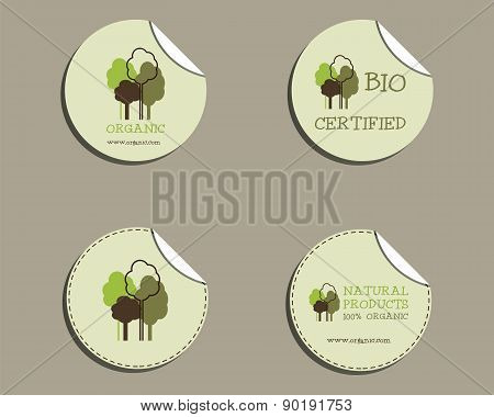 Set of green organic labels - stickers for natural shop products. Ecology theme. Eco design. Vector