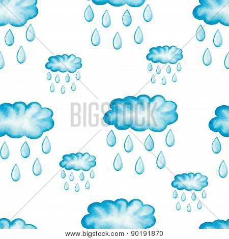 Watercolor vector seamless pattern with rain drops.