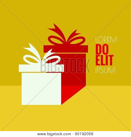 Gift box with a flat shadow.