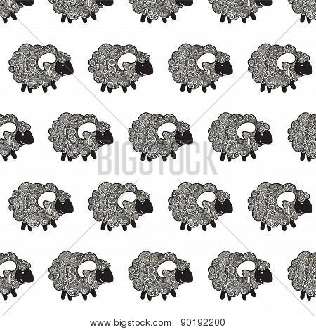 Hand Drawn Vector Seamless Pattern With Sheep