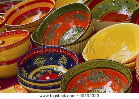 Colorful Ceramic Bowls Ready For Sale On The Market.