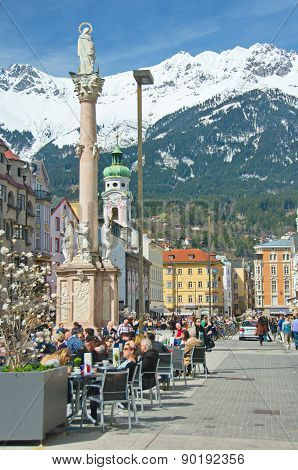 People Enjoying A Spring Day In Innsbruck, Austria