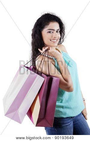 Pretty Indian Girl With Shopping Bags