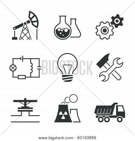 Industry simple vector icon set