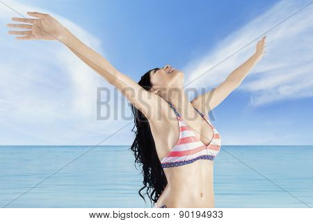 Woman Enjoy Fresh Air At Coast