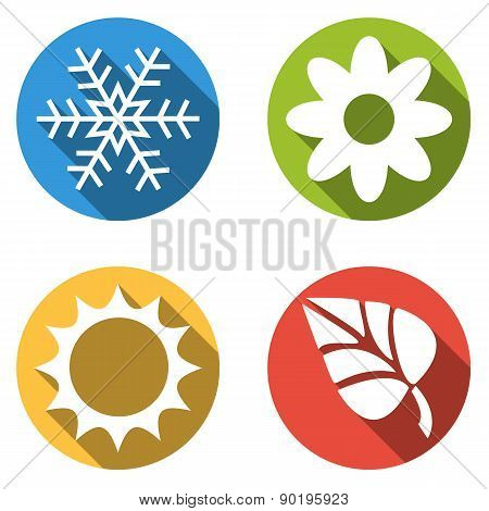 Collection Of 4 Isolated Flat Colorful Buttons For 4 Seasons Icons