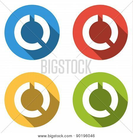 Collection Of 4 Isolated Flatl Buttons (icons) For Circular Graph