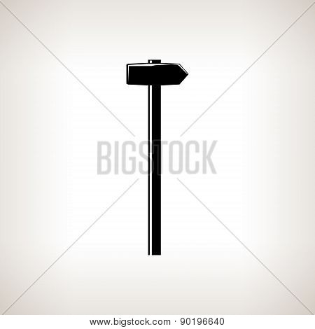 Silhouette hammer on a light background