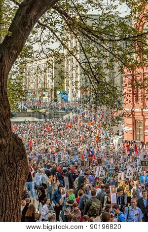 Red Square, Moscow, Russia - MAY 9: parade of Immortal Regiment, the memory of soldiers in Great Pat