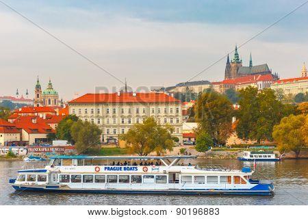 Tourist boat in Prague, Czech Republic