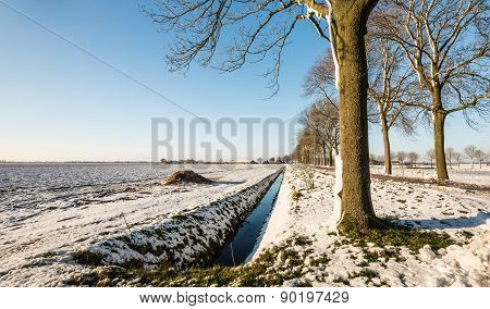 Picturesque Rural Landscape In The Winter Season