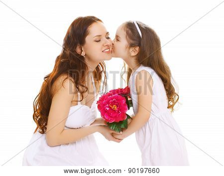 Mother's Day, Celebration, Birthday And Family Concept - Beautiful Mother And Daughter, Little Girl