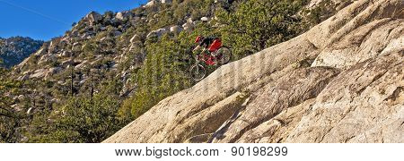 Downhill Bike Rider Rides Down The Mount Lemmon