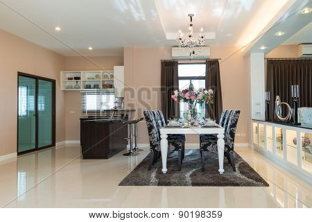 Dining room with decorative flower