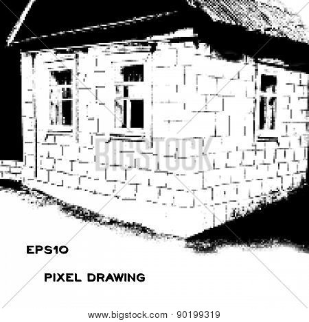 Pixel Drawing Of The Old House With Windows
