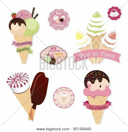 Set of tasty ice cream