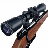 picture of rifle  - Sniper scope of a hunting rifle detailed view - JPG
