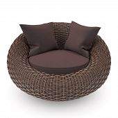 image of lawn chair  - Rattan chair front view with soft pillows - JPG