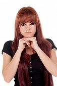 picture of piercings  - Pensive teenage girl dressed in black with a piercing isolated on white background - JPG