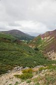 picture of pass-time  - Looking down the Sychnant Pass old road linking Penmaenmawr and Conwy at high time - JPG
