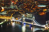 foto of london night  - Aerial overview of London city with the Tower bridge at the night time - JPG