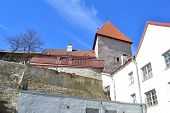 picture of fortified wall  - Fortress wall on Toompea hill in Tallinn Estonia - JPG