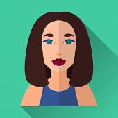 image of medium-  length hair  - Green flat style square shaped female character icon with shadow - JPG
