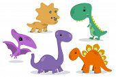 picture of dinosaur  - Set with six small and cute colorful dinosaurs - JPG