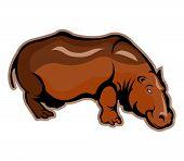 stock photo of hippopotamus  - A vector illustration of big brown  hippopotamus - JPG