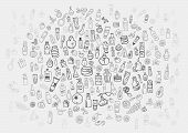 stock photo of cosmetic products  - doodle hand drawn cosmetic and self care products background - JPG
