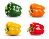 pic of yellow-pepper  - Set Collection of Fresh vegetable Green Yellow Red and Orange Peppers isolated on a white background - JPG