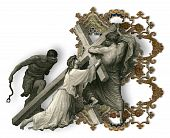 pic of crucifiction  - Victorian letter B with Jesus Christ enfeebled by the weight of the cross - JPG