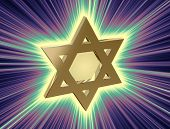 stock photo of covenant  - stylized image Star of David made of gold in the glow rays - JPG