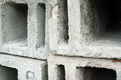 foto of orifice  - Stack of the concrete ventilation blocks - JPG