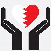 picture of bahrain  - Hand showing Bahrain flag in a heart shape - JPG