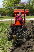 pic of plowing  - A rear view of a elderly gentleman plowing his garden with a compact tractor - JPG